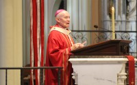 Archbishop George J. Lucas delivers his homily during the annual Red Mass at Creighton University's St. John's Church, Monday, Oct. 4, 2021. (David Golbitz/Daily Record)