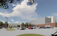 An artist's exterior rendering of the Sarpy County Correctional Center shown from the campus entry in Papillion. (DLR Group via Sarpy County)