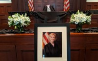 Members of the bar paid their respects to the late Judge Laurie Smith Camp by visiting her courtroom at the Hruska Federal Courthouse, shown on Wednesday afternoon. The courtroom will be open Friday from 9 a.m. to 4 p.m. Condolences may be sent to SmithCampCondolences@ned.uscourts.gov and will be shared with Smith Camp's family. (David Golbitz/Daily Record)
