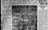 Coverage from the Sept. 30, 1919, issue of The Omaha Bee shows the note that was dropped to the lynch mob at the Douglas County Courthouse. (Courtesy photo/Library of Congress)