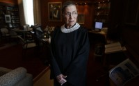 Associate Justice Ruth Bader Ginsburg poses for a photo in her chambers at the Supreme Court in Washington, before an interview with The Associated Press, July 24, 2013. Ginsburg, 87, developed a cultlike following over her more than 27 years on the bench, especially among young women who appreciated her lifelong, fierce defense of women's rights. She died Sept. 18, 2020. (AP)