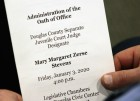 """An investiture ceremony was held for Douglas County Juvenile Court Judge Mary """"Peg"""" M.Z. Stevens in the Legislative Chambers of the Omaha-Douglas County Civic Center on Friday, Jan. 3, 2020. (Photo by Scott Stewart)"""