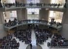 A large crowd filled the Hruska Federal Courthouse atrium, as well as the balconies for three floors above the stage for Brian C. Buescher's investiture ceremony on Friday, Nov. 15, 2019. (Photo by Scott Stewart)